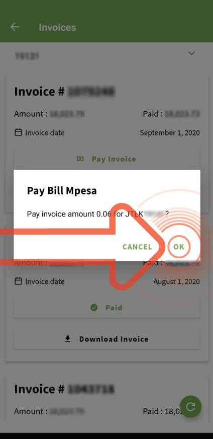 Confirm that you want to pay the bill