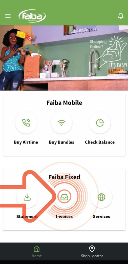 Open the Faiba App and click on Invoices